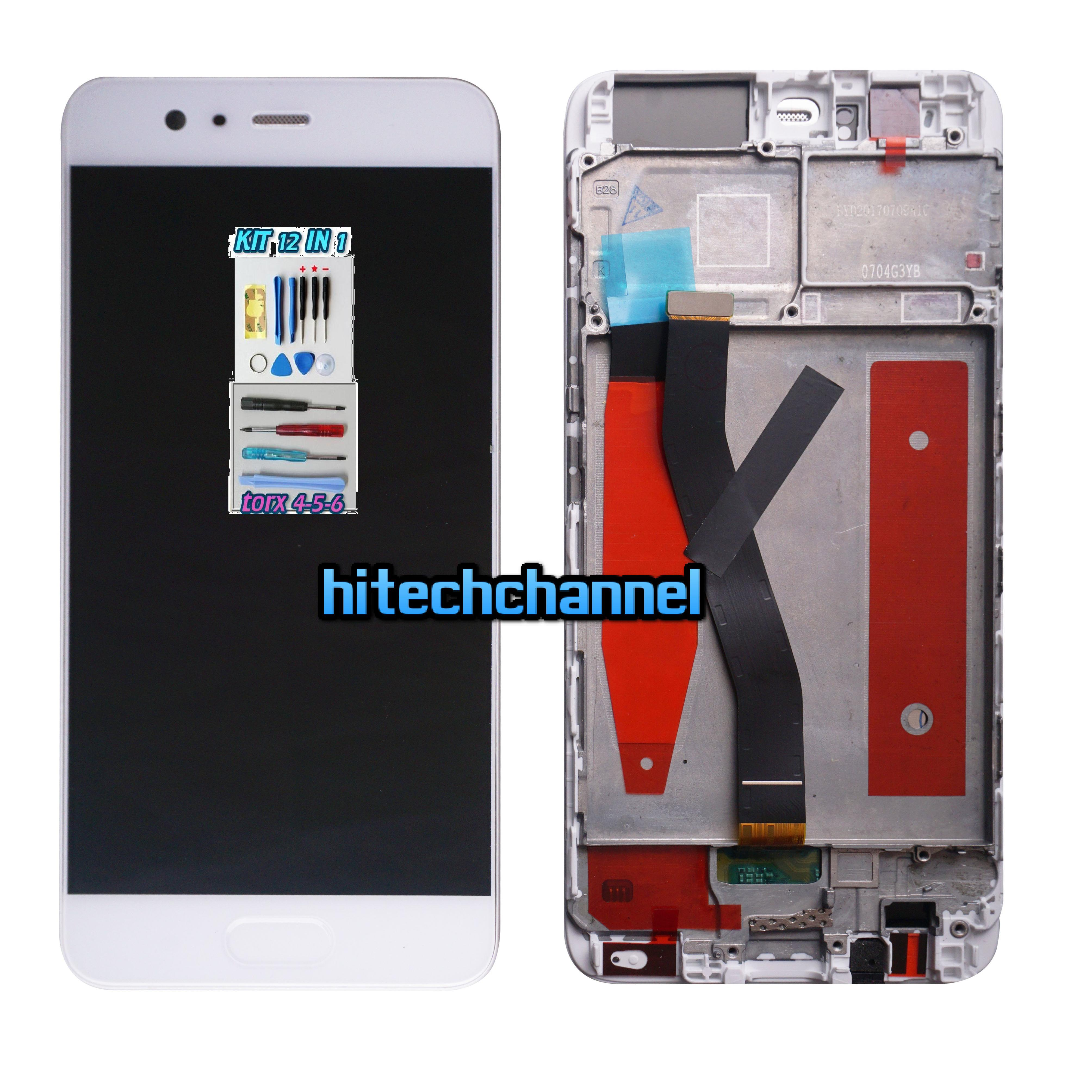 TOUCH SCREEN LCD DISPLAY FRAME BIANCO HUAWEI P10 VTR- L09 kit 9 in 1 biadesivo