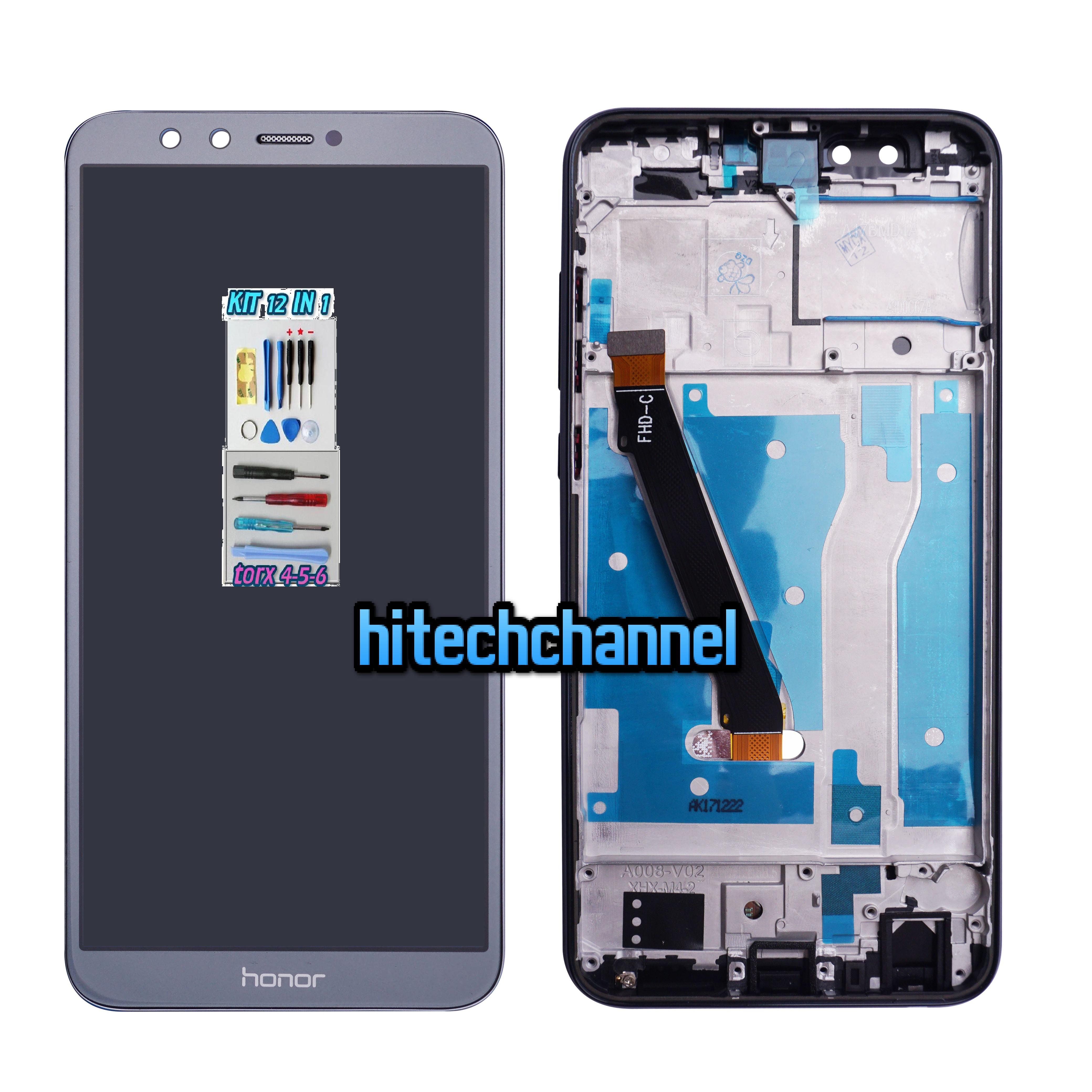 TOUCH SCREEN LCD DISPLAY FRAME GREY GRIGIO HONOR 9 LITE LLD-L31 AL00 AL09 +kit 9 in1 e biadesivo