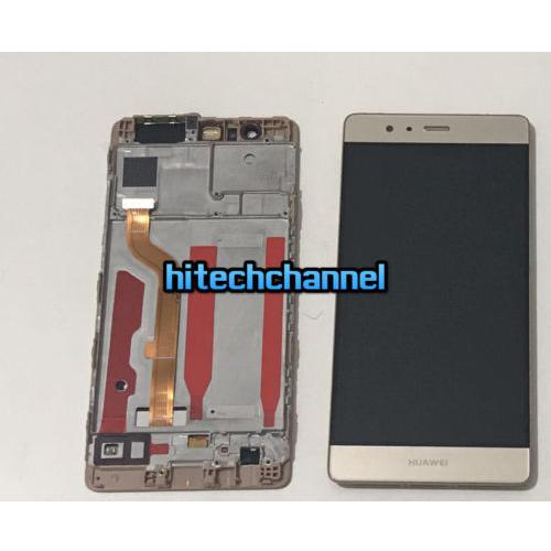 TOUCH SCREEN LCD DISPLAY FRAME HUAWEI ASCEND P9 ORO GOLD originale+BIADESIVO