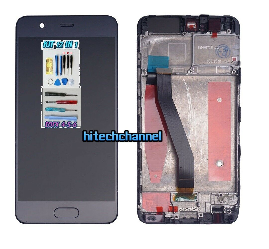 TOUCH SCREEN LCD DISPLAY FRAME nero HUAWEI P10 VTR- L09 +colla B7000 kit 9 in 1 e biadesivo