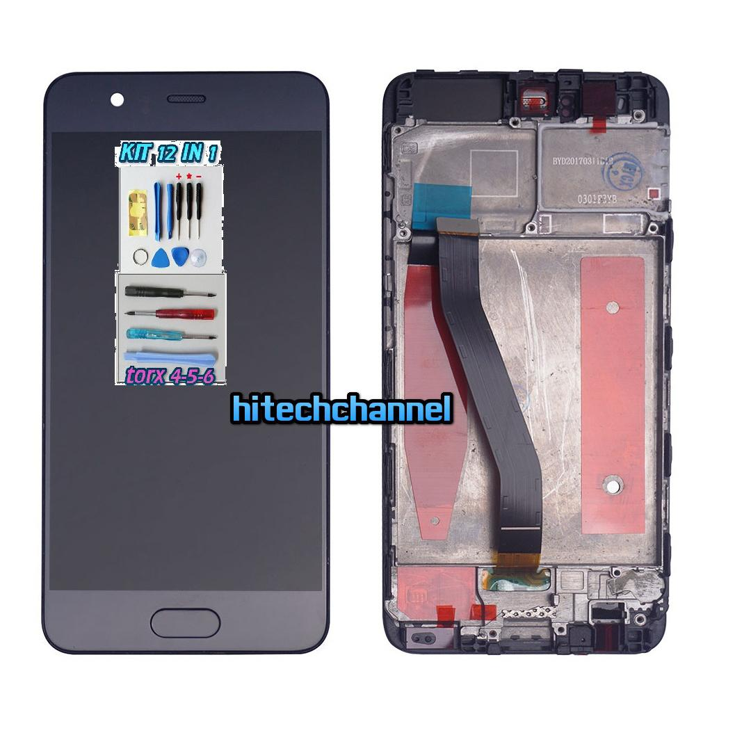 TOUCH SCREEN LCD DISPLAY FRAME nero HUAWEI P10 VTR- L09 kit 9 in 1 biadesivo