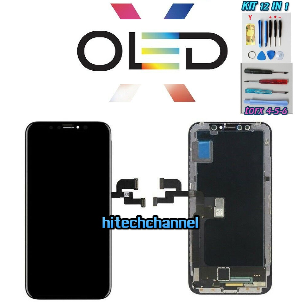 Touch screen lcd display frame OLED per apple iphone X nero e kit cacciavite Y