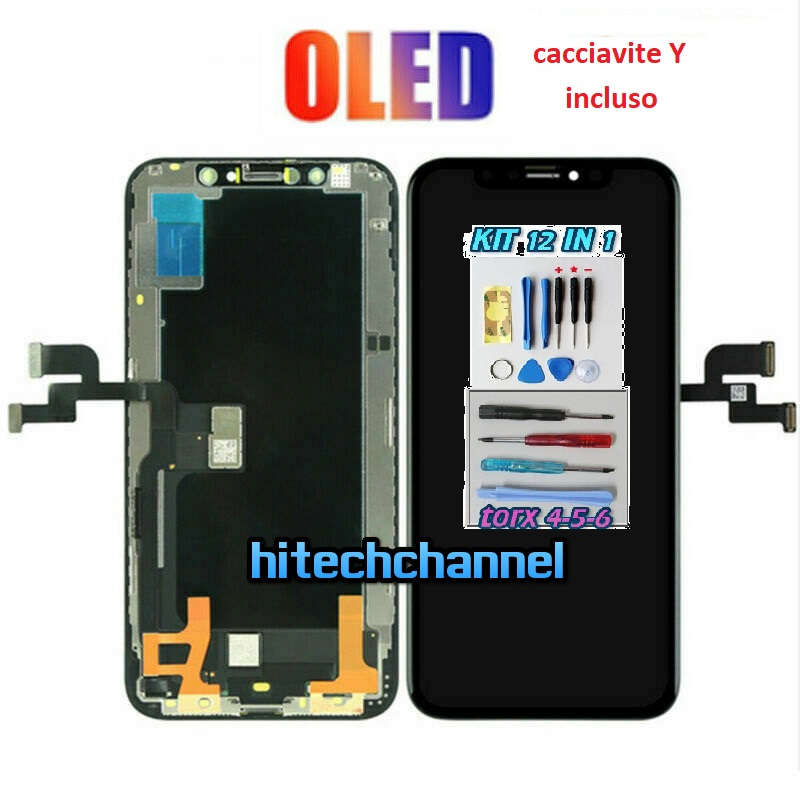 Touch screen lcd display frame OLED per apple iphone XS nero kit cacciavite Y