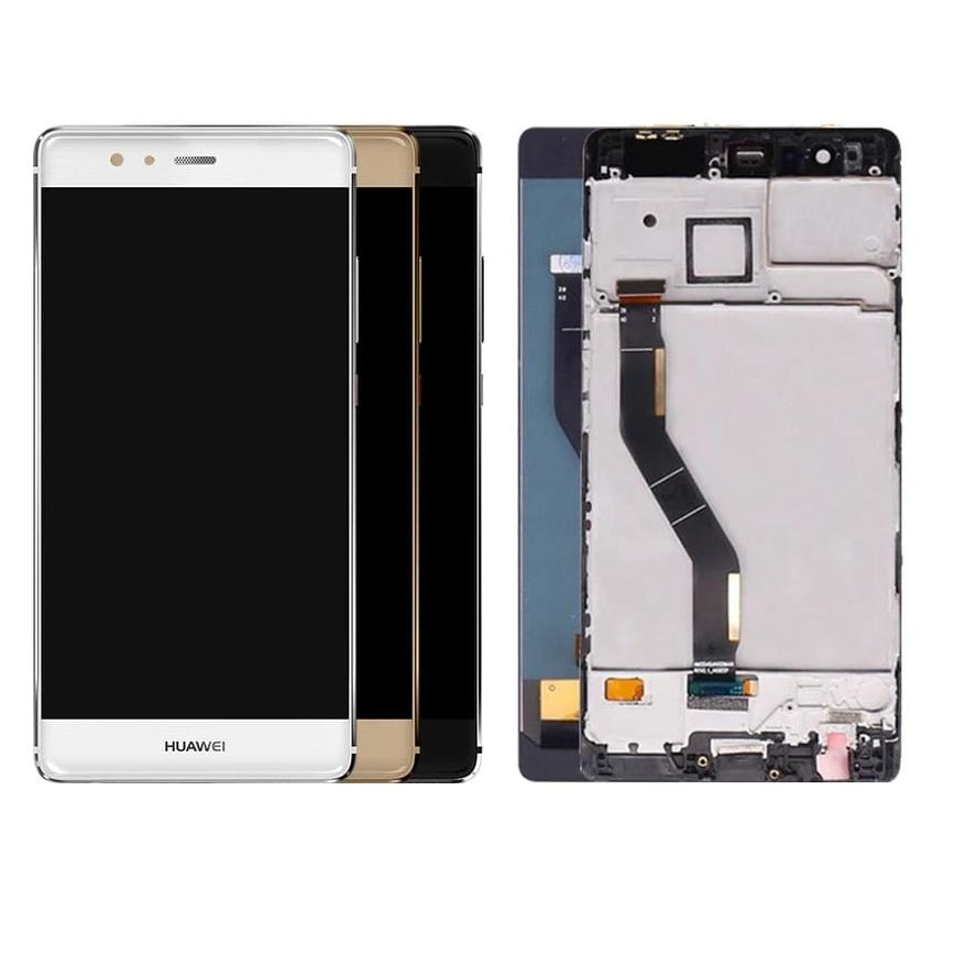 Touch screen lcd display FRAME per huawei P9 Plus VIE-L09 bianco nero oro+kit biadesivo e colla b7000
