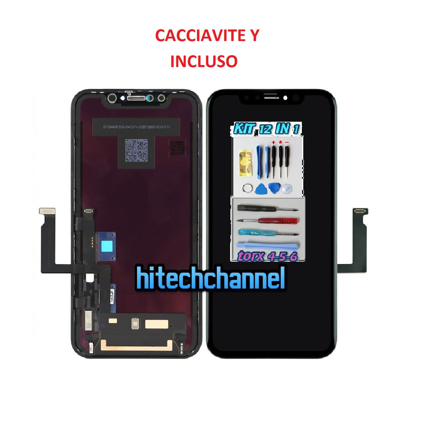 Touch screen lcd display frame TFT per apple iphone XR nero e kit cacciavite Y