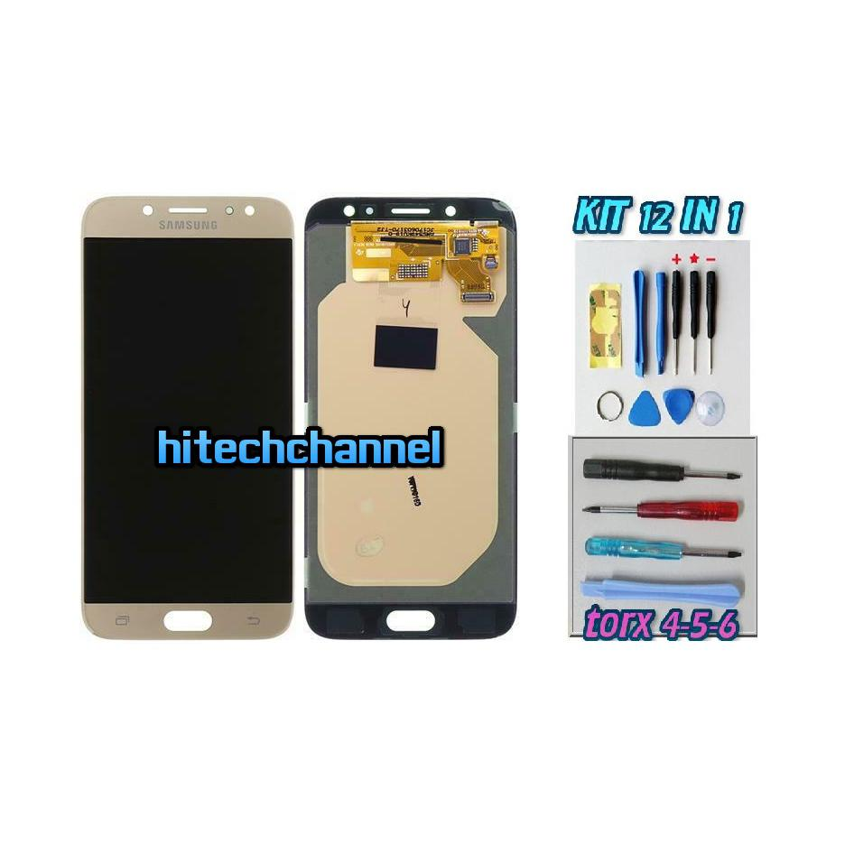 TOUCH SCREEN LCD DISPLAY GOLD ORO Samsung Galaxy J7 2017 J730 SM-J730F + kit 9 in 1 biadesivo e colla b7000