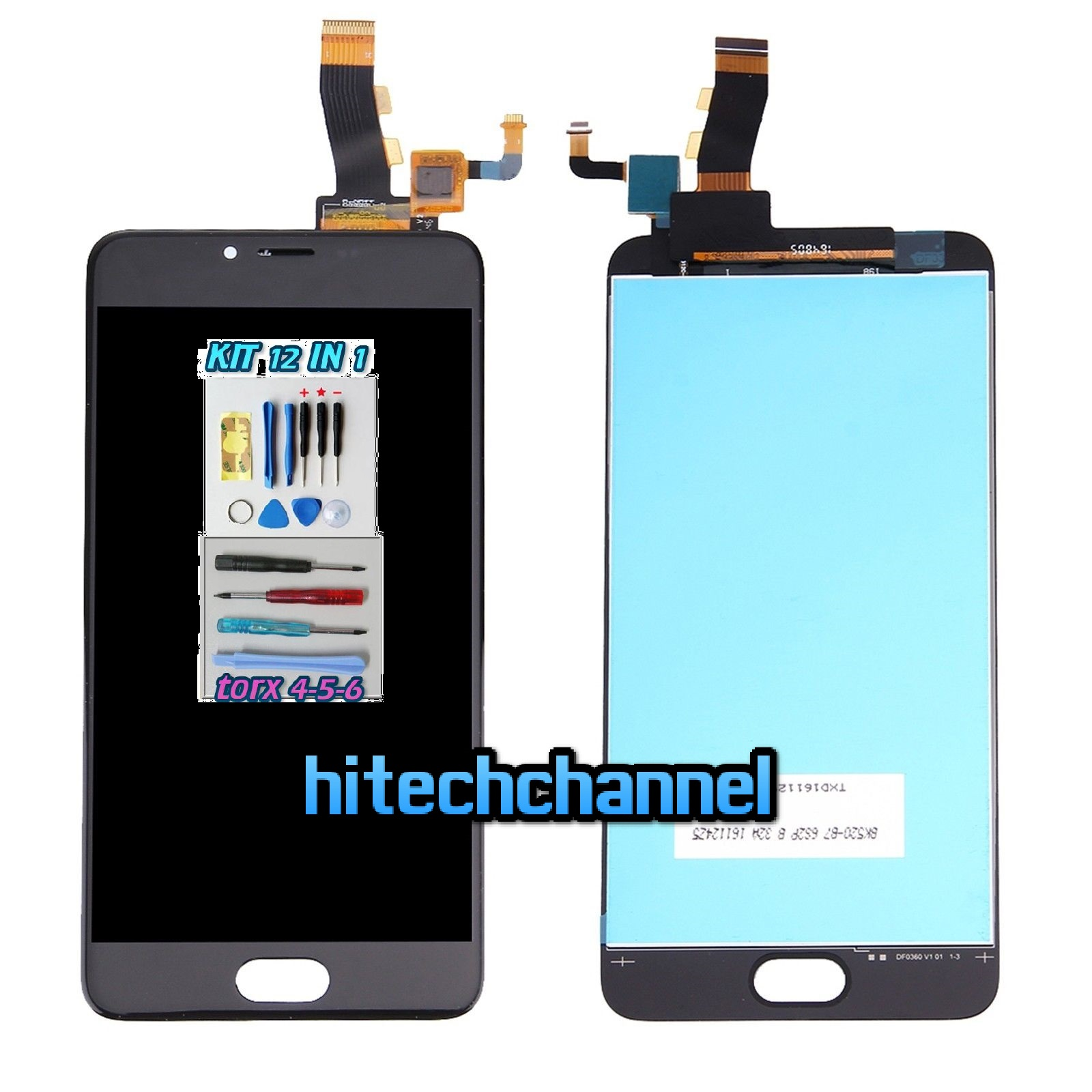 TOUCH SCREEN LCD DISPLAY MEIZU M5 NERO kit 9 in 1 biadesivo