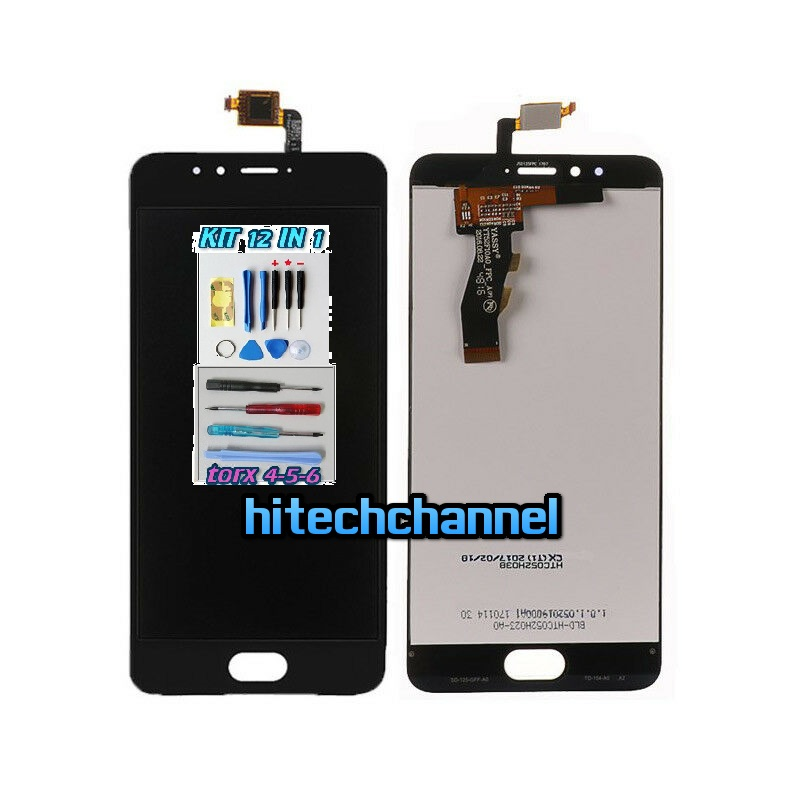 TOUCH SCREEN LCD DISPLAY MEIZU M5S MEILAN M612 NERO kit 9 in 1 e biadesivo