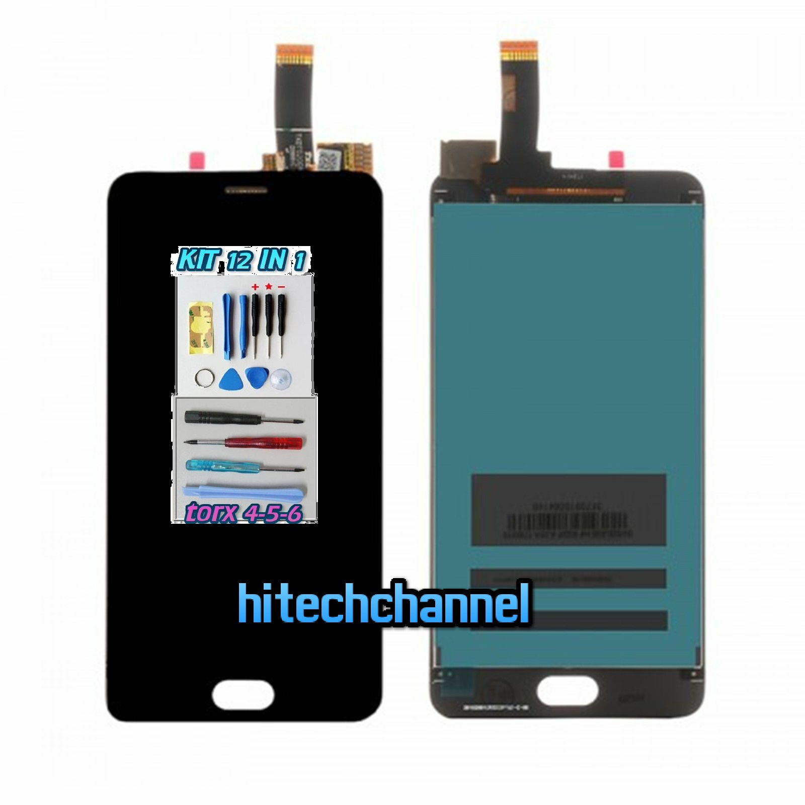 TOUCH SCREEN LCD DISPLAY MEIZU M6 NERO kit 9 in 1 biadesivo
