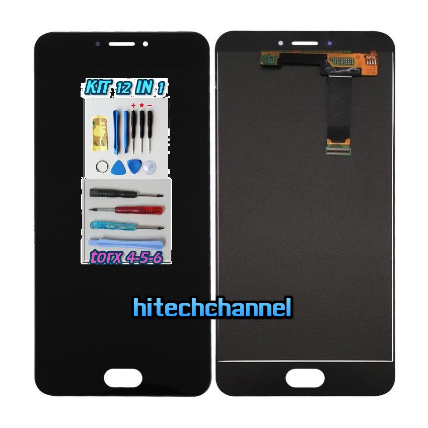 TOUCH SCREEN LCD DISPLAY MEIZU MX6 NERO kit 9 in 1 biadesivo
