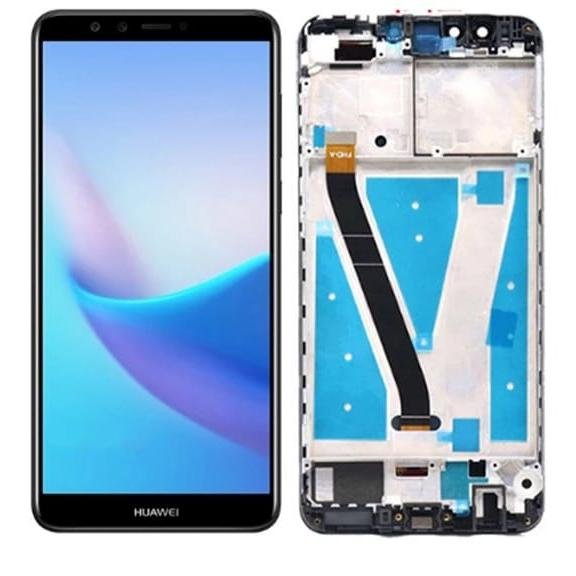 Touch screen lcd display frame nero per huawei Y9 2018 / ENJOY 8 PLUS FLA-LX1 LX3+kit biadesivo e colla b7000