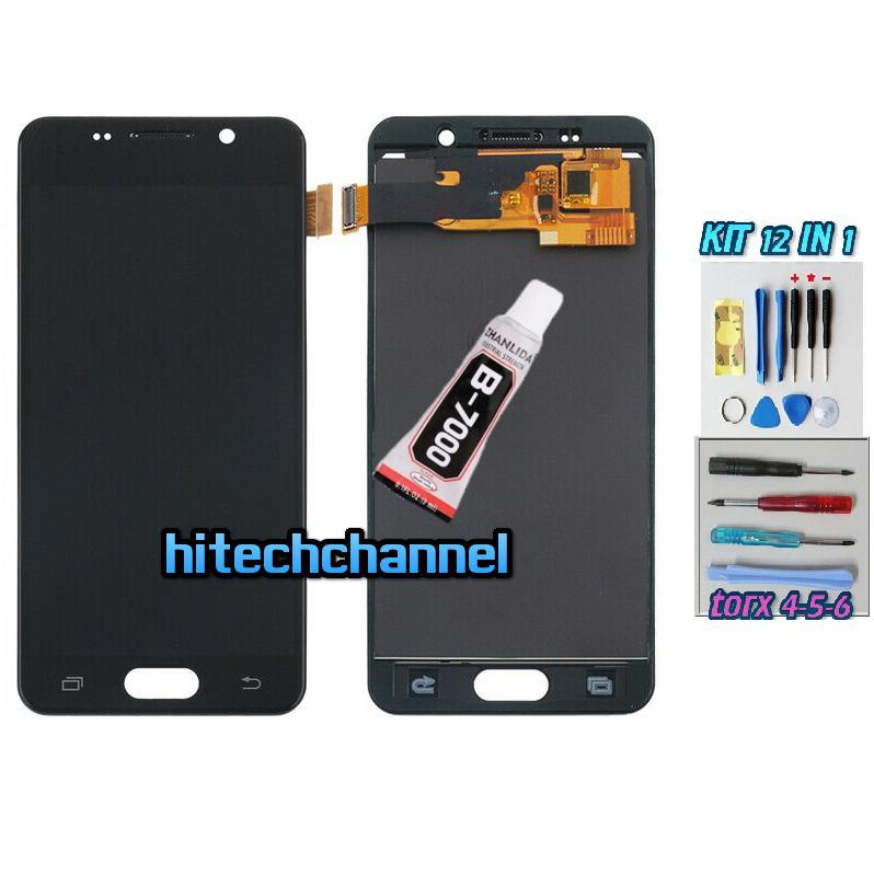 TOUCH SCREEN LCD DISPLAY NERO per Samsung A3 2016 A310 A310F/M +b7000 kit biadesivo