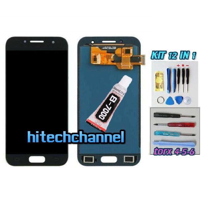TOUCH SCREEN LCD DISPLAY NERO per Samsung A3 2017 A320 SM-A320F +b7000 kit biadesivo