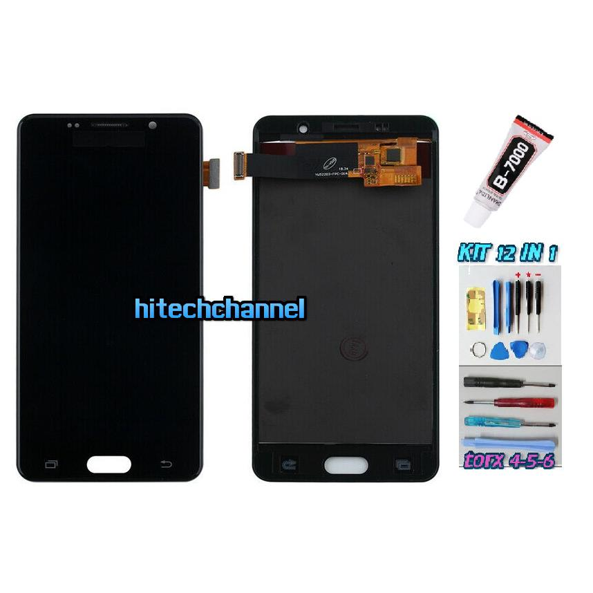 TOUCH SCREEN LCD DISPLAY NERO per Samsung GALAXY A5 2016 SM-A510F 510DS + kit 9 in 1 colla b7000 e biadesivo