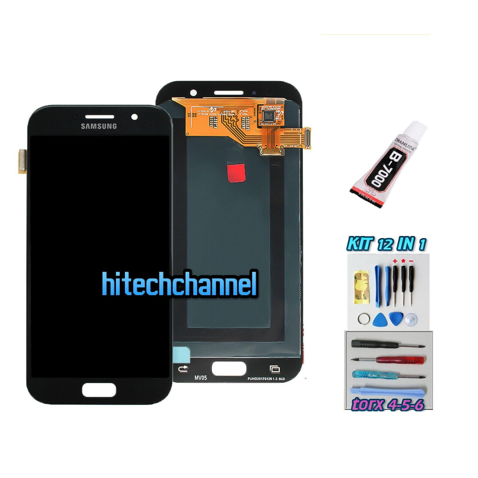 TOUCH SCREEN LCD DISPLAY NERO per Samsung GALAXY A5 2017 A520F SM-A520F + Kit 9 in 1 colla b7000 e biadesivo