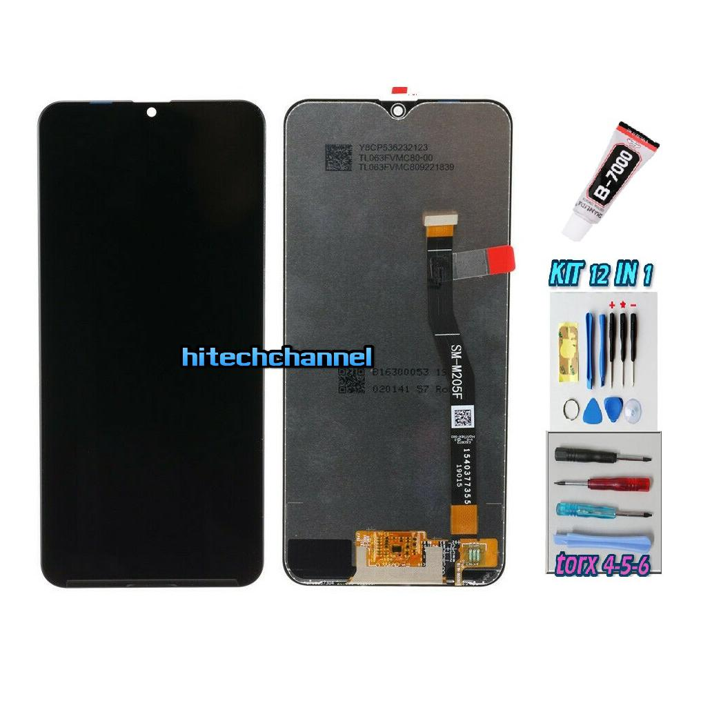 TOUCH SCREEN LCD DISPLAY NERO per Samsung M20 2019 M205F M205FN + kit 9 in 1 colla b7000 e biadesivo