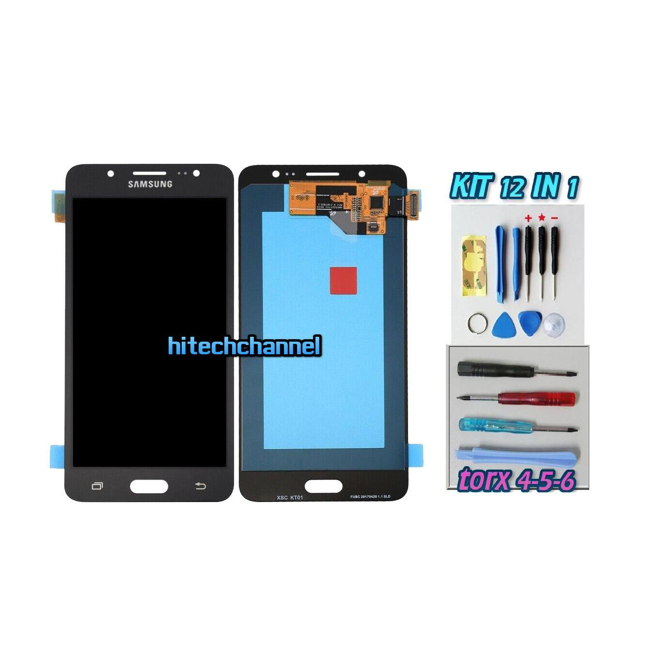 TOUCH SCREEN LCD DISPLAY NERO Samsung Galaxy J5 2016 SM-J510FN+kit 9 in 1 e biadesivo