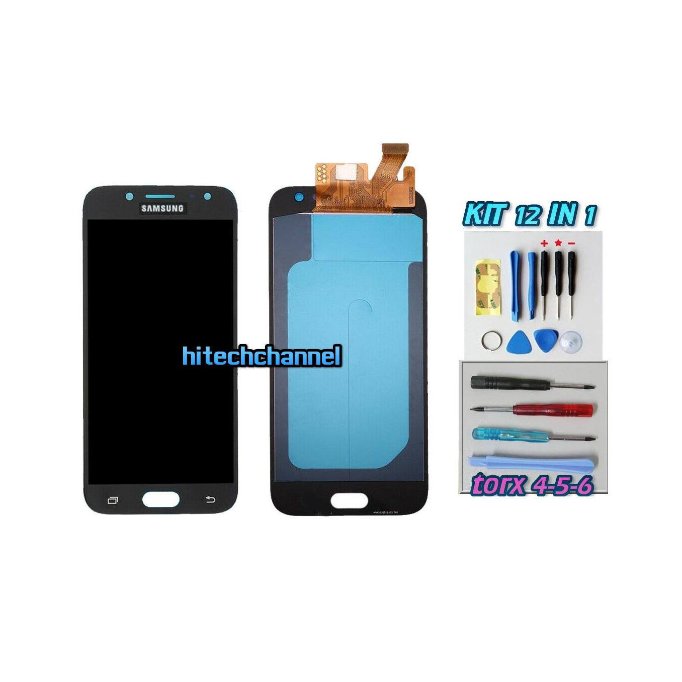 TOUCH SCREEN LCD DISPLAY NERO Samsung Galaxy J5 2017 J530F+ kit 9 in 1 e biadesivo