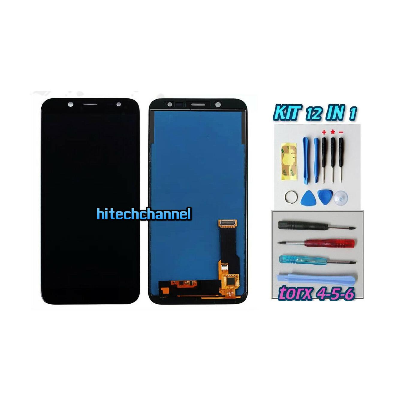 TOUCH SCREEN LCD DISPLAY NERO Samsung Galaxy J6 2018 SM-J600DS J600FN J600G+kit 9 in 1 e biadesivo