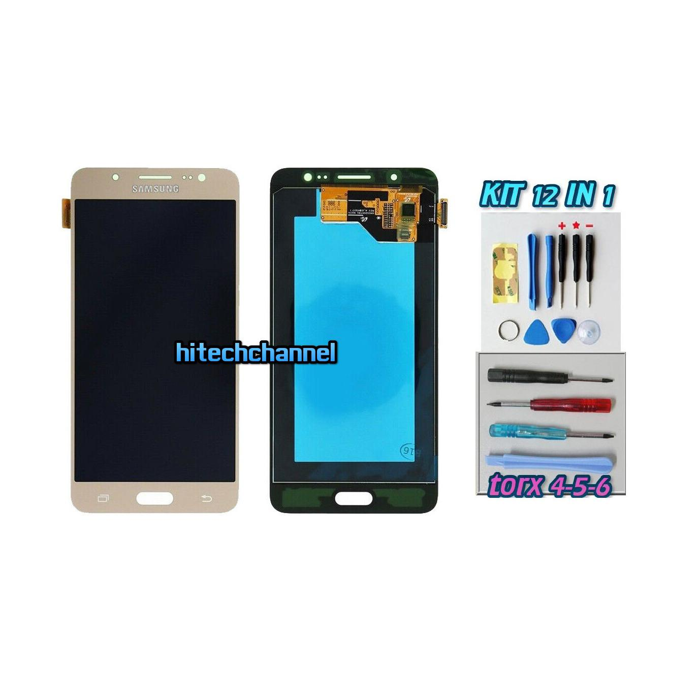 TOUCH SCREEN LCD DISPLAY ORO GOLD Samsung Galaxy J5 2016 SM-J510FN+kit 9 in 1 e biadesivo