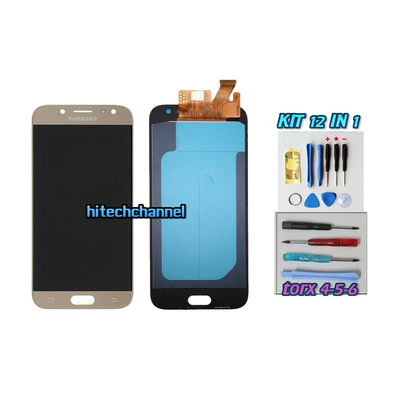 TOUCH SCREEN LCD DISPLAY ORO GOLD Samsung Galaxy J5 2017 J530F+ kit 9 in 1 biadesivo e colla b7000