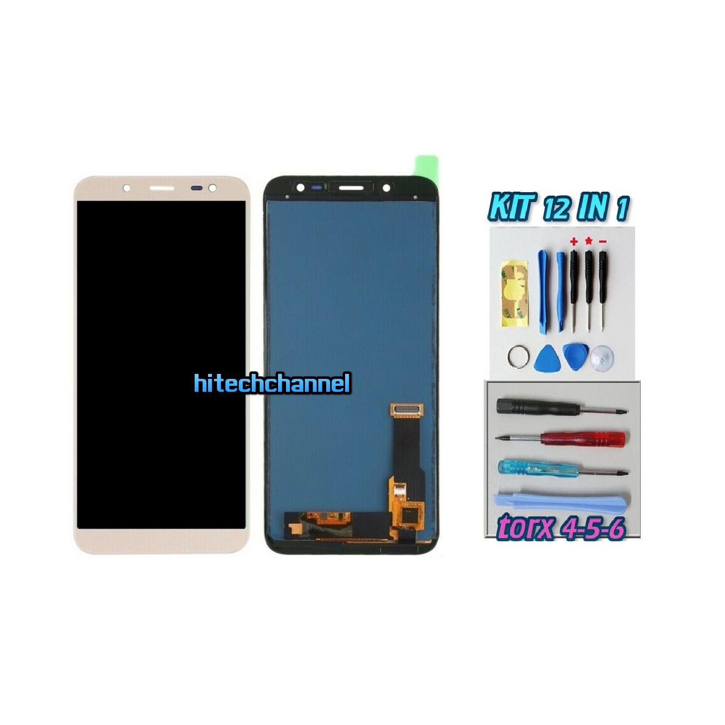 TOUCH SCREEN LCD DISPLAY ORO GOLD Samsung Galaxy J6 2018 SM-J600DS J600FN J600G+kit 9 in 1 biadesivo e colla b7000