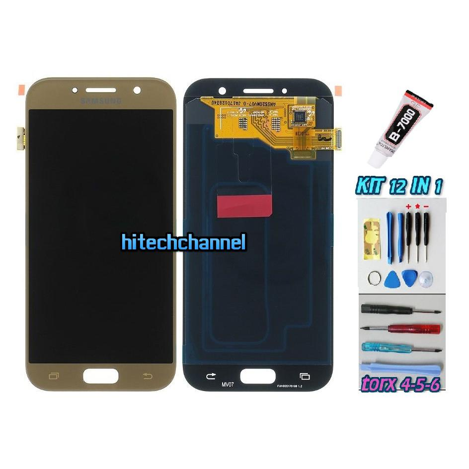 TOUCH SCREEN LCD DISPLAY ORO per Samsung GALAXY A5 2017 A520F SM-A520F + Kit 9 in 1 colla b7000 e biadesivo