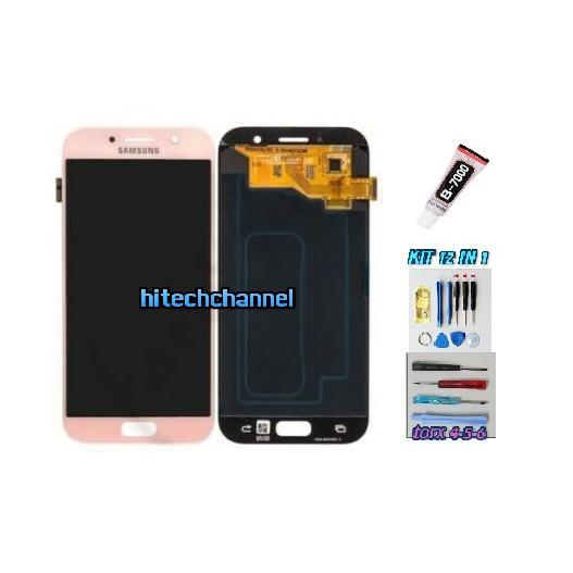 TOUCH SCREEN LCD DISPLAY ROSA per Samsung GALAXY A5 2017 A520F SM-A520F + Kit 9 in 1 colla b7000 e biadesivo