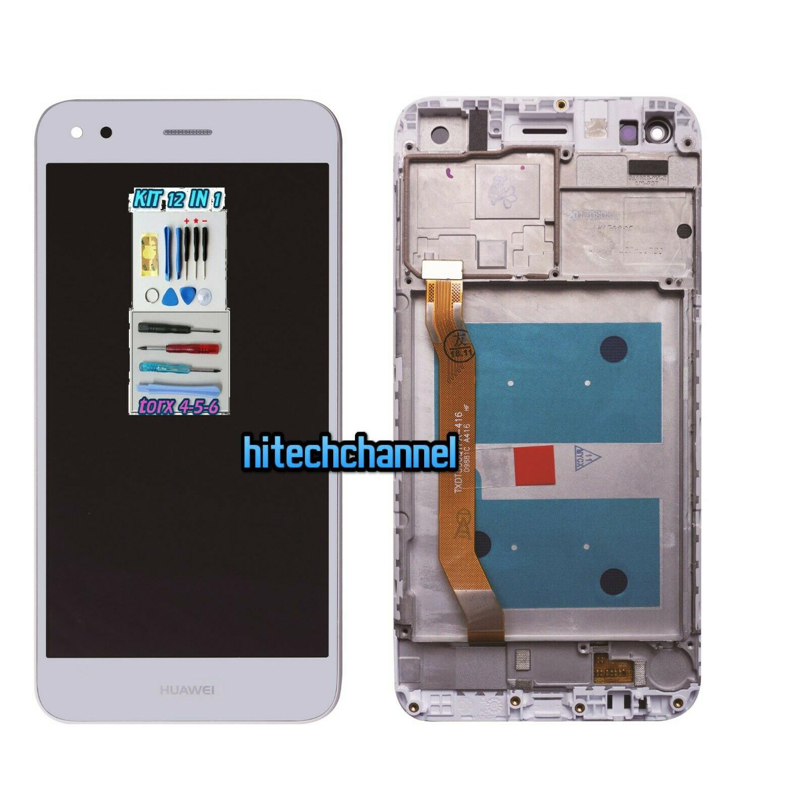 TOUCH SCREEN VETRO LCD DISPLAY FRAME BIANCO Huawei Y6 Pro 2017 SLA-L02 L22 TL00 Enjoy 7 +kit+ biadesivo