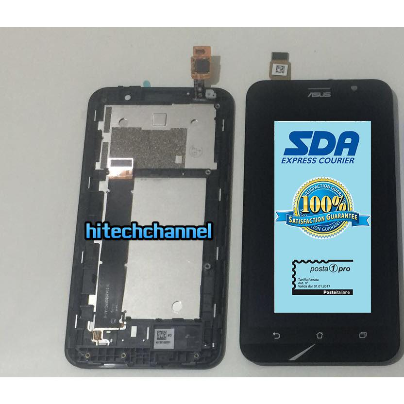 Touch screen vetro lcd display con frame per ASUS ZENFONE GO ZB551KL X013D +biadesivo