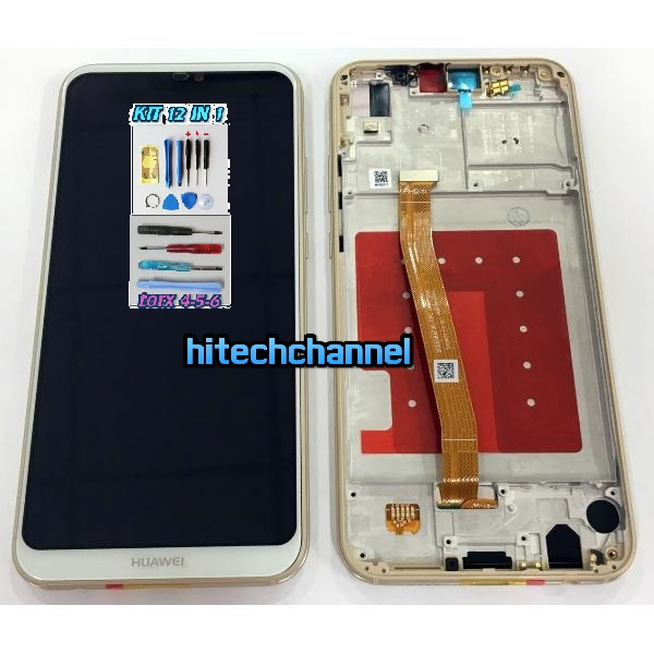 TOUCH SCREEN VETRO LCD FRAME DISPLAY BIANCO PER Huawei P20 LITE ANE-LX1+kit 9 in 1 + biadesivo
