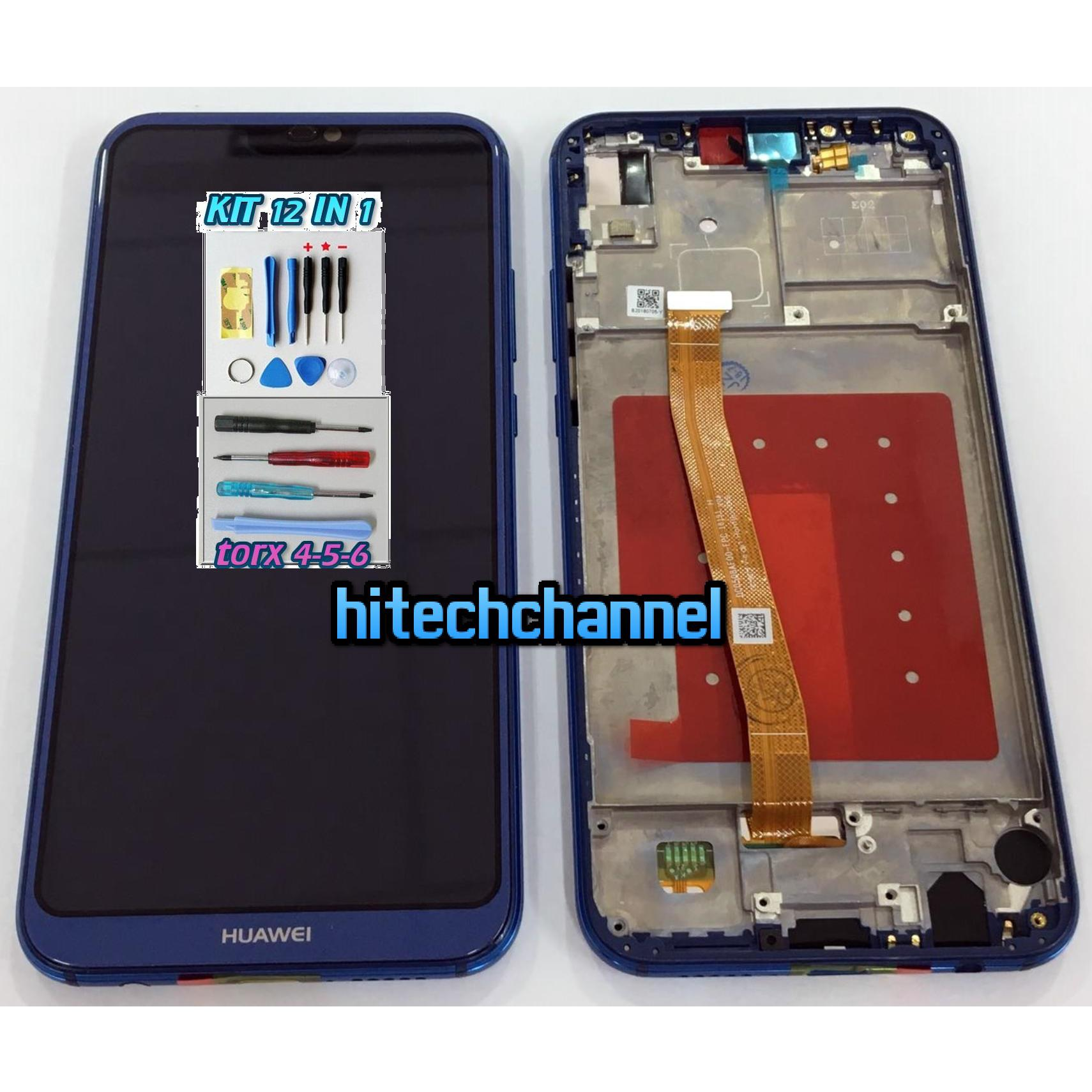 TOUCH SCREEN VETRO LCD FRAME DISPLAY BLU PER Huawei P20 LITE ANE-LX1+kit 9 in 1 + biadesivo