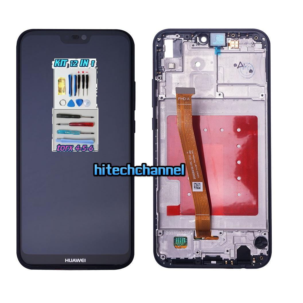 TOUCH SCREEN VETRO LCD FRAME DISPLAY NERO PER Huawei P20 LITE ANE-LX1+kit 9 in 1 + biadesivo