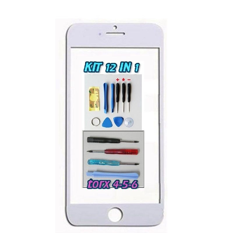 VETRO GLASS VETRINO BIANCO WHITE PER APPLE IPHONE 6 4.7 + KIT 12 IN 1